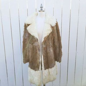 Vintage Womens M Brown Blonde Rabbit Fur Long Coat
